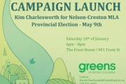 Green Candidate Charlesworth Hosts Campaign Launch