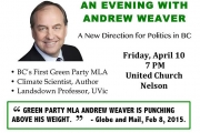 An evening with BC Green Party MLA Andrew Weaver