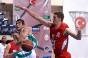 Sean Denison, seen here defending a pass in action playing in Turkey, is back at his old LVR Hangar stomping grounds as guest coach at the Kootenays Finest Basketball Camp.
