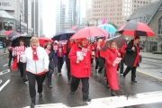 BC Nurses parade through the streets of Vancouver Thursday to protest safe staffing levels and safe patient care. — Submitted photo