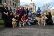 NDP MLA Selina Robinson poses for a picture with advocates from the BC SPCA outside the  legislature on Thursday. — Submitted photo