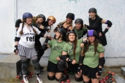 Salmo's Babes of Brutality battle the Dam City Rollers of Castlegar during game one of the doubleheader Friday at the Castlegar Complex.