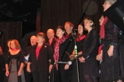 Members of the Rossland Glee Choir, singing their hearts out at the December 2012 Joe Hill Coffee House