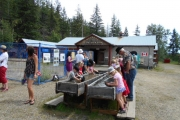 "Children ""panning"" on Canada Day 2016 at the Rossland Museum grounds."