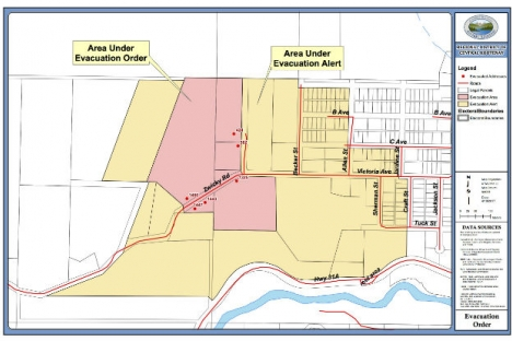The updated evacuation order map includes house points still under the evacuation order.