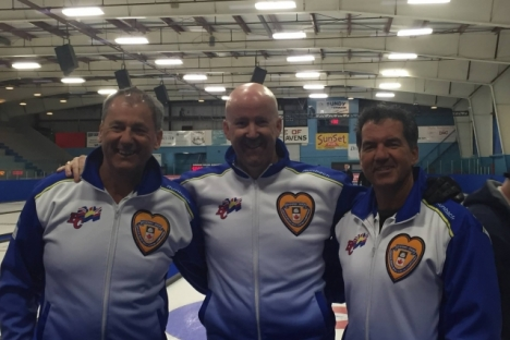 Three members of last year's BC Champion rink, from left, lead Fred Thomson of Nelson, third Stephenson of Kelowna and second Don Freschi, lost out in the final of the  2017 BC Senior Men's Curling Championships Sunday in Salmon Arm. — Photo courtesy Facebook