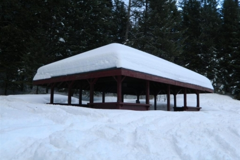 The Lions gazebo in winter